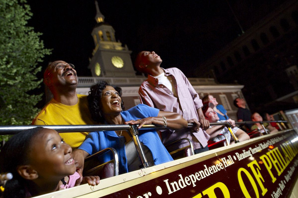 The Philly By Night tour rides past Independence Hall.
